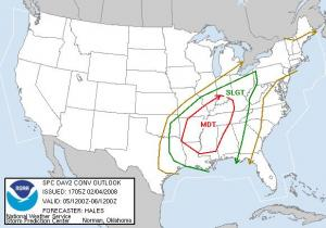 Severe weather outlook from the Storm Prediction Center for Tuesday, 5 Feb 08.