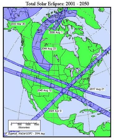 Map showing paths of total solar eclipses crossing North America between 2001 and 2040. Note a totality path that crosses South Carolina and southwestern NC in August 2017.