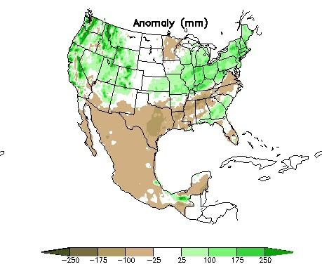Map from the Climate Prediction Center showing precipitation departure from normal for the period December 07 through February 08. Brown shading is below normal precipitation, green is above normal.