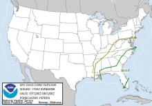 Severe weather outlook for Friday, March 7.  Courtesy: Storm Prediction Center