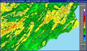 Estimated rainfall across North Carolina for the 7-days ending 10 Mar 08. Note the 2-inch and above area covering much of north central NC, and the 3-inch plus area over the upper portion of the Neuse River watershed.