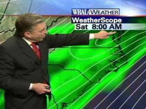 WRAL Chief Meteorologist Greg Fishel said the rain will begin in the morning hours on Saturday.