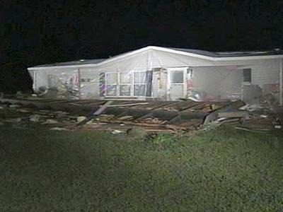 Damage from a tornado that moved through Wayne County on April 12, 2008.