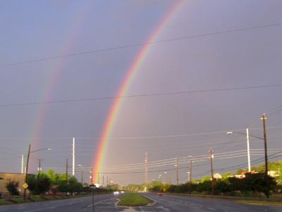 Photo taken by a viewer of a rainbow in Raleigh.