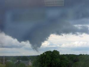 The Triangle area is not under a tornado watch; however, viewer George Stanziale sent WRAL a photo of a cold-air funnel cloud taken near Duke University Hospital in Durham.