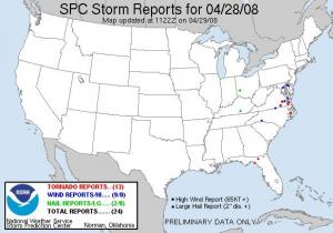Storm reports from the Storm Prediction Center for Mon 28 Apr 08. Red dots indicate tornadoes.