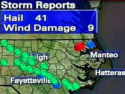 Instances of tornadoes, hail and wind damage reported by the National Weather Service on May 9, 2008, and early on May 10, 2008.
