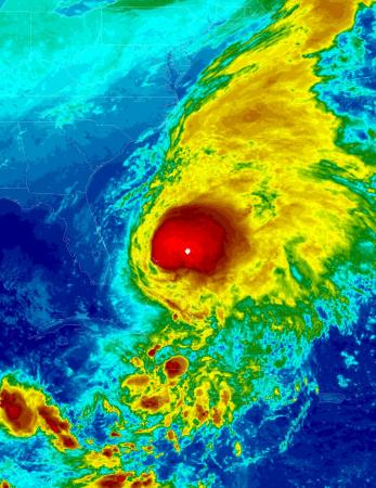 Infrared satellite image of Hurricane Noel on November 1, 2007. (Courtesy: NOAA)