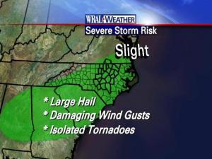 Graphical outline of severe weather risks for Tuesday afternoon, May 20, 2008.