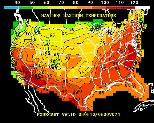 Model-projected high temperatures for Monday 9 June 2008. Note the band of 100-degree and above potential for the Carolinas and Virginia, and the sharp drop-off in high temperatures marking a frontal boundary from about north Texas to Michigan.