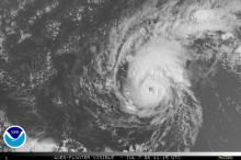 Visible satellite image of Hurricane Bertha on July 7, 2006.