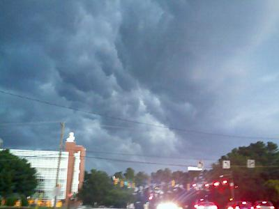 Storm clouds build at the corner of Avent Ferry Road and Western Boulevard on July 9, 2008.