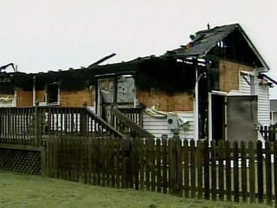 A vacant house in Johnston County caught fire after it was hit by lightning on July 22, 2008.