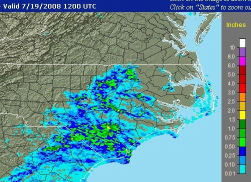 Map estimating 24-hour rainfall ending 8 am on July 19, 2008, from the NWS Precipitation Analysis site.