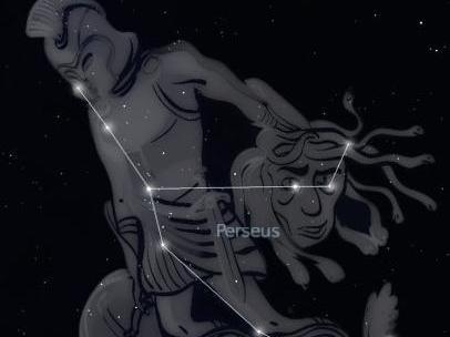 The Perseid meteors appear to originate from the constellation Perseus.  Image courtesy of Stellarium (www.stellarium.org)