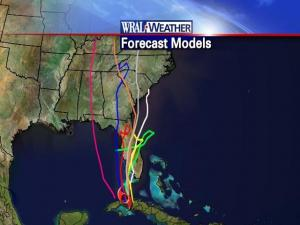 Possible paths for Fay according to computer models Monday at 11 a.m.