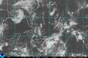 Infrared satellite image of the tropical western Atlantic the morning of Monday, Aug 25 2008. Tropical Depression Fay is centered over southern Mississippi, with a potentially developing tropical wave south of Hispaniola.