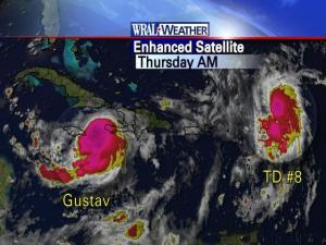 Enhanced infrared satellite image of TS Gustav and TD #8 on Thursday morning, August 28, 2008.