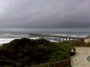 Skies were gray over Atlantic Beach Friday afternoon before Hanna arrived.