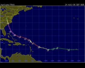 Track of 1996 Hurricane Fran, from the Unisys Hurricane archive.