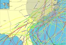 Tracks of hurricanes that have affected North Carolina in the latter part of the hurricane season.  (Source: NWS)