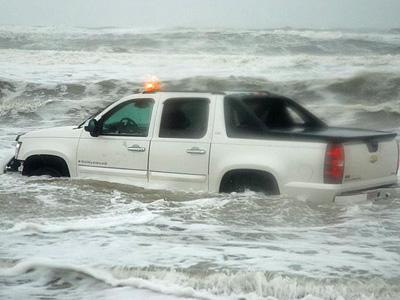 Photo taken as a low pressure system pounded waves at Nags Head on Sept. 25, 2008. (Submitted by Mike Bradley)