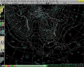 "This shows the forecast from one of the forecasting models, the so-called ""European Model"".  This is showing the height of a constant-pressure surface 3-5 miles above the surface of the earth.  The values are loosely related to the warmth of the airmass in the lowest 3-4 miles of the atmosphere.  Where the lines bend northward (along the Rockies), we'll see warm weather.  For us, the lines are bending downward, indicating a cooler airmass and cooler temperatures."