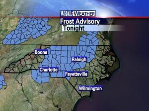 Frost advisory Oct. 19-20.
