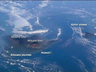 Kilauea volcanic plumes are marked a, b, and c in this photo from NASA.