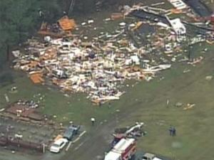 Sky 5 captured this image of tornado damage near Kenly Saturday, Nov. 15.