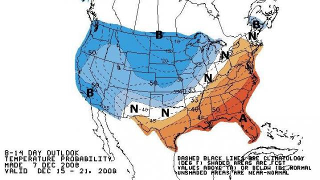 Outlook for mid-December temperatures from the Climate Prediction Center, showing the effects of a possible warm ridge aloft developing across the southeastern U.S. - if this pattern change verifies, we should see several days next week with above normal temperatures.