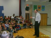 Meteorologist Nate Johnson talks weather with first graders from Vass Lakeview Elementary School in Moore County. (Courtesy: VLES)