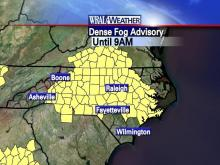A dense fog advisory is in effect until 9 a.m. Friday.