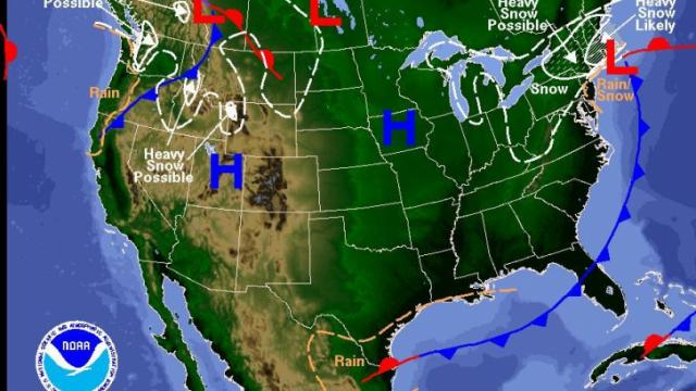 Map of surface weather features valid on Wednesday evening, December 31, 2008.  (NOAA/HPC)
