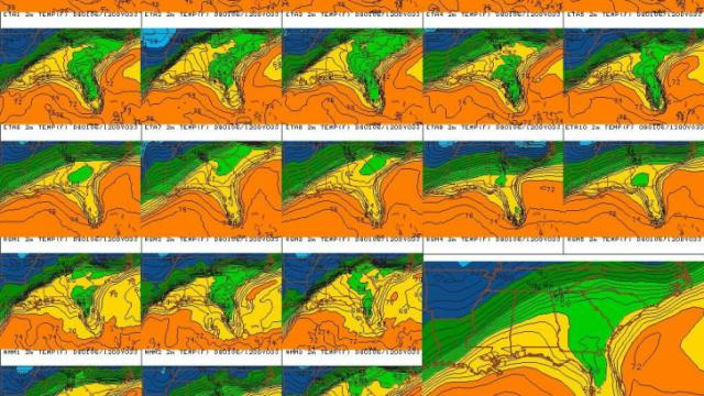 Southeast temperature forecast for Tuesday 6 Dec 09 at 7 am EST from Penn State's SREF page.