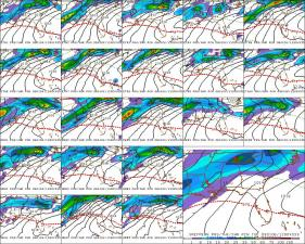 Southeast pressure and 3-hour precipitation forecast for Tuesday 6 Dec 09 at 7 am EST from Penn State's SREF page.