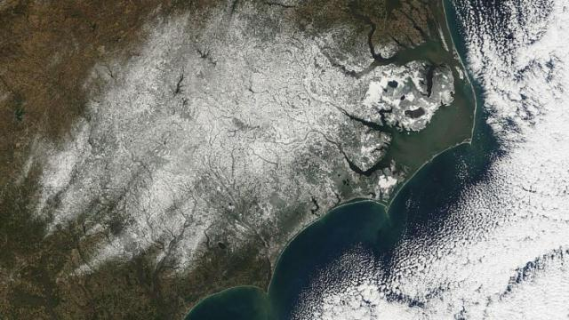 Terra/MODIS image of snow on the ground across NC on Wednesday 21 Jan 09.