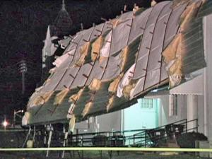 In Franklinton, straight-line winds peeled off half the roof of the Sunday School building of the Franklinton Baptist Church, 102 W. Mason St., around 5 p.m. Wednesday, Jan. 28, 2009. No one was hurt, but damage was estimated at more than $100,000.
