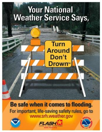 """A promotional poster from the National Weather Service's """"Turn Around, Don't Drown"""" campaign."""