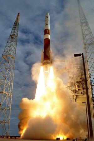 The GOES-13 satellite being launched from Cape Canaveral Air Force Station, FL aboard a Delta IV rocket on May 24, 2006.