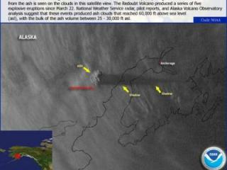Satellite image showing the Redoubt Volcano ash plume in March 2009.