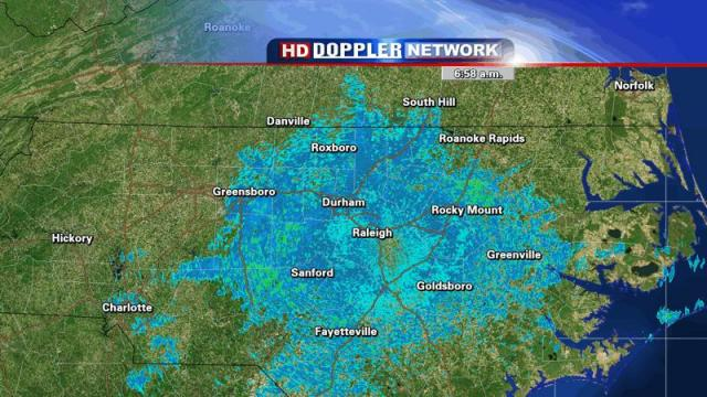 """Result of ducting on NEXRAD radar from 6:58am on 27 April 2009.  This isn't a broad area of light rain, it's where radar energy has been scattered down toward the ground, then back to the radar.  In other words, the radar is """"seeing"""" the ground here."""