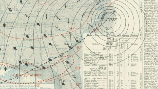 Weather map for Mar 2, 1927, as a powerful nor'easter passes along the NC coast.