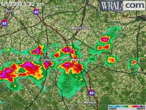 A line of storms crosses Sampson County Monday afternoon.