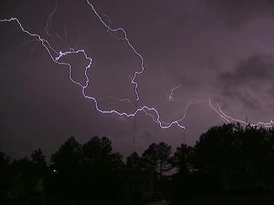 Lightning hits WRAL tower