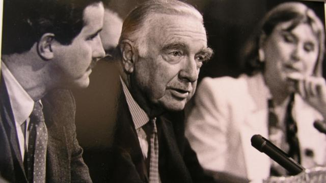 "Walter Cronkite as part of a ""Journalist in Space"" panel at Penn State in the mid 1980s."