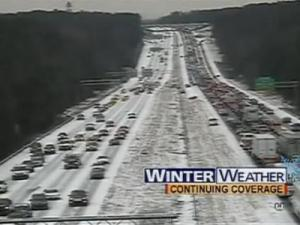"Gridlock!  Screen shot of WRAL coverage of January 2005 ""Snowstorm"""
