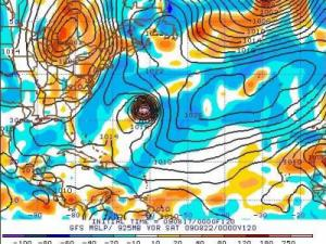 GFS Model sea level pressure and low-level vorticity forecast valid  at 8 pm Friday evening 21 August 09.