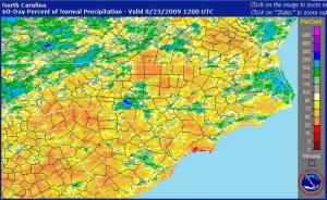 Map from the NWS U.S. Precipitation Analysis site showing percent of normal rainfall across NC for the 60-day period ending 8 am August 23rd.