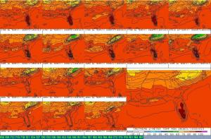 SREF forecast temperatures at 2 meters above the ground valid at 2 pm, 31 Aug 09.